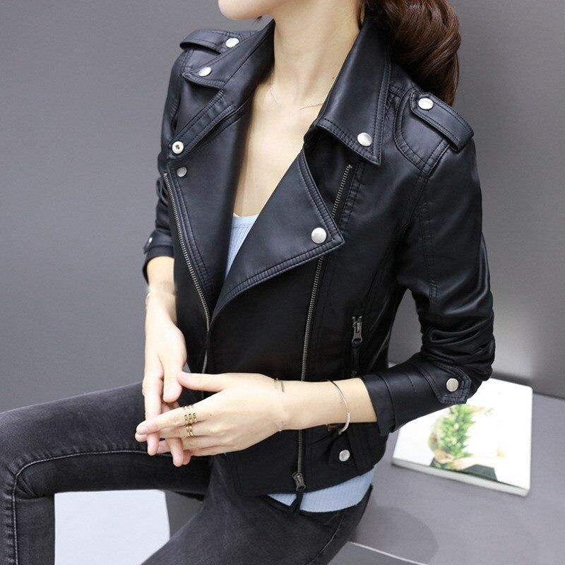 Fashion Women   Leather   Jackets Short Motorcycle Faux Soft   Leather   Jacket Coat Rivet Zipper Lapel Pu Jacket