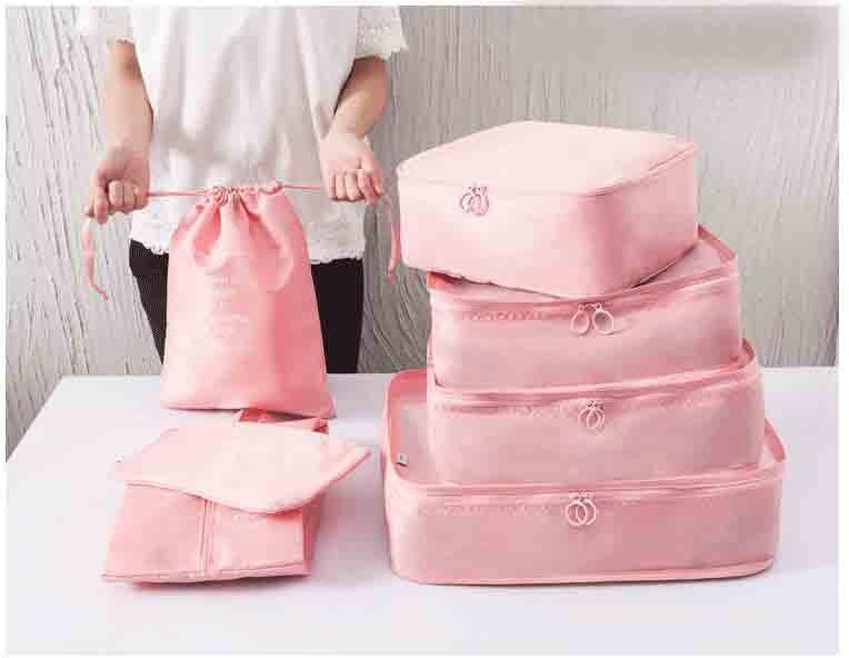 7PCS/Set High Quality Oxford Cloth Travel Mesh Bag Luggage Organizer Packing Cube Organiser Travel Bags Makeup Bag