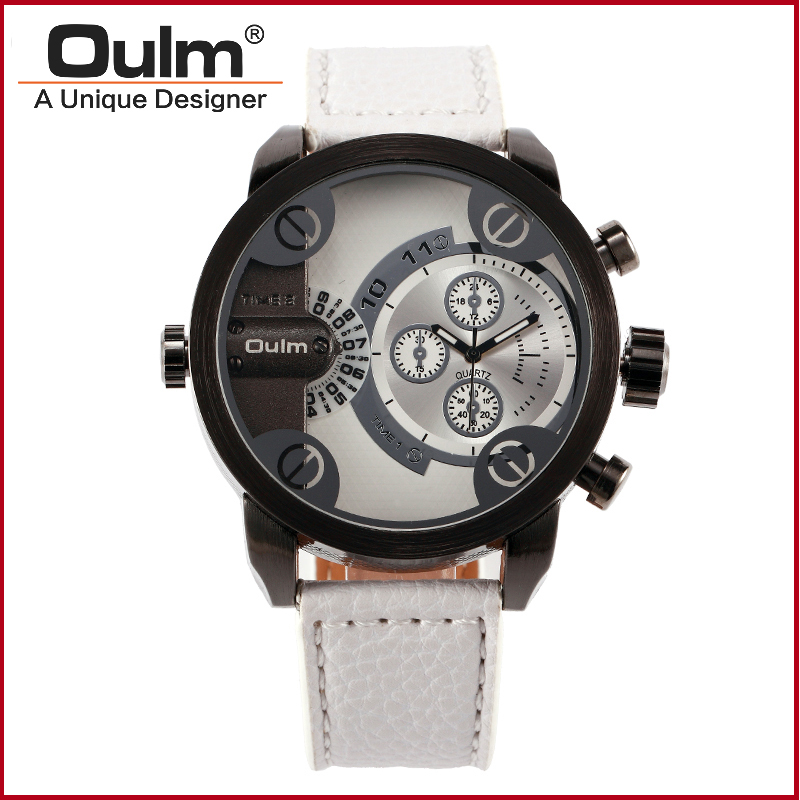 2016 New Oulm Brand Leather Wristwatches Men Dual Time Zone Watches more color Fashion Casual Style