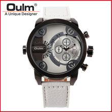 2016 New Oulm Brand  Leather Wristwatches Men Dual Time Zone Watches more color Fashion Casual Style Watch Analog New with Tags