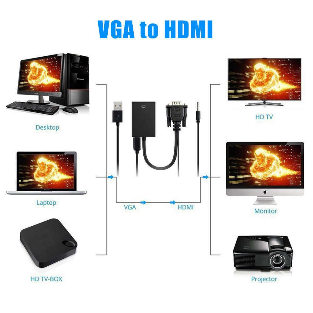 DC5V VGA мужчина к HDMI Выход 1080 P FHD + безрамочный экран с аудио ТВ AV HDTV видео кабель конвертер адаптер с линией USB разъем 1920x1080