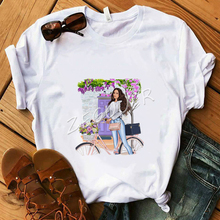 Flower Bicycle Lady Shirt Girl Floral Graphic White T-Shirt Women Cotton Soft O-Neck Tees