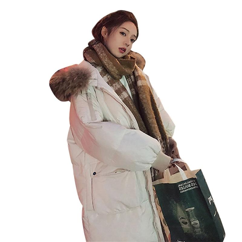 Mode Capuchon 2018 D'hiver black Nouveau Manteaux Long Survêtement Et Veste Col Parkas À Fourrure Femelle Chaud White Épais De Manteau Parka Femmes Grand Xq6Bx76