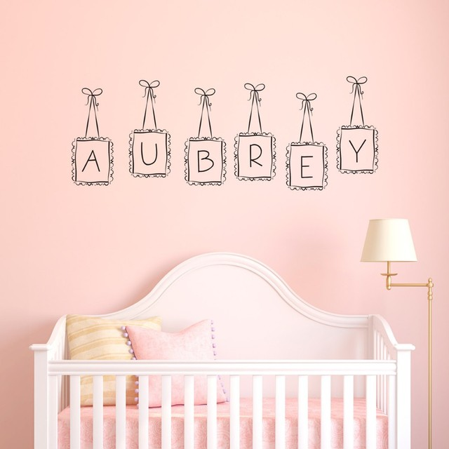 Lovely hanging frames custom personalized letter kids name wall nursery bedroom decor vinyl wall decals home