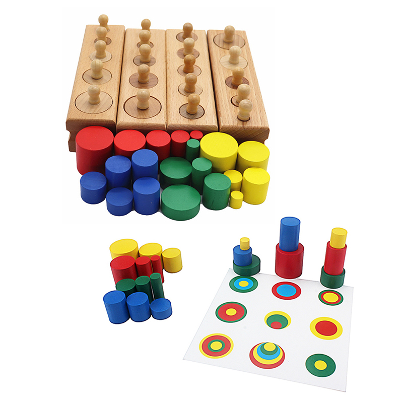Kids Montessori Wooden Toys Educational Colorful Cylinder Socket Toy With 6Pcs Card Baby Development Practice And Sensory Toys