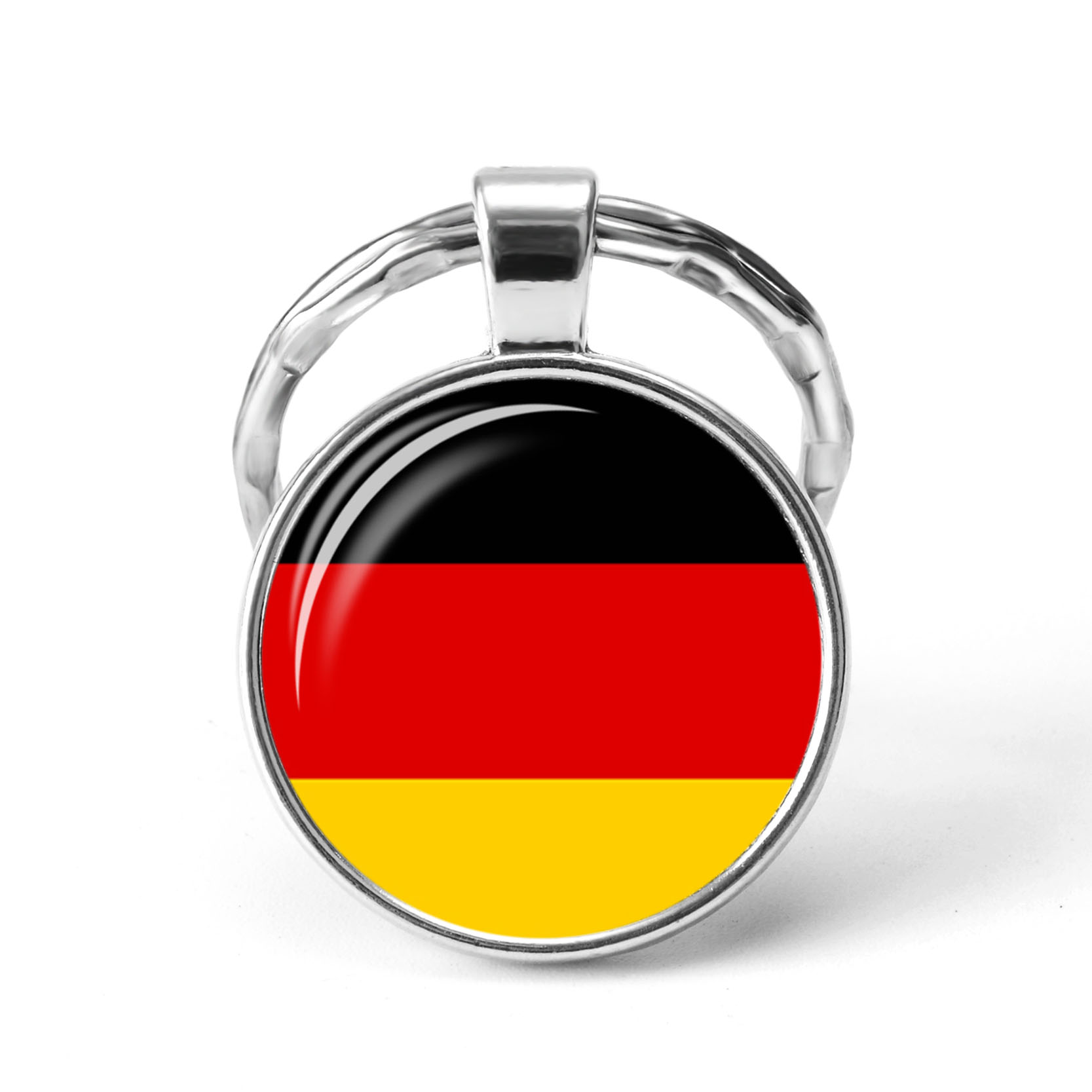 Central Europe Countries Flag Keychain Germany Poland Switzerland Austria Hungary Flag Glass Cabochon Pendant Metal Key Chains(China)