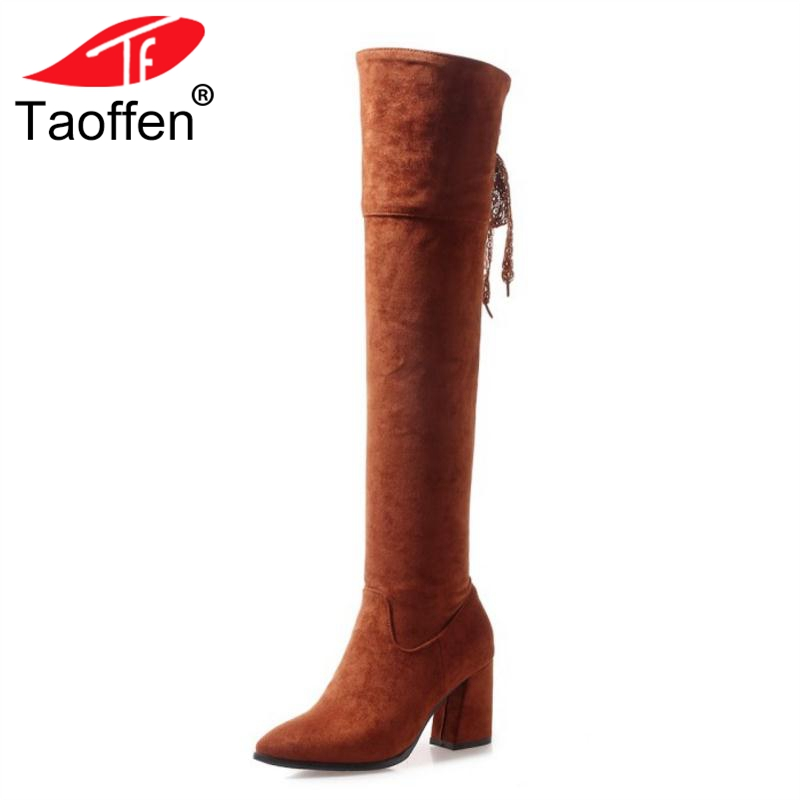 TAOFFEN Plus Size 32-47 Women Thigh High Boots Winter Warm Fur Shoes Woman Bowknot High Heels Long Boots Zipper Sexy Shoes bling pu leather women sexy boots high heels zipper shoes warm fur winter boots for women x1022 35