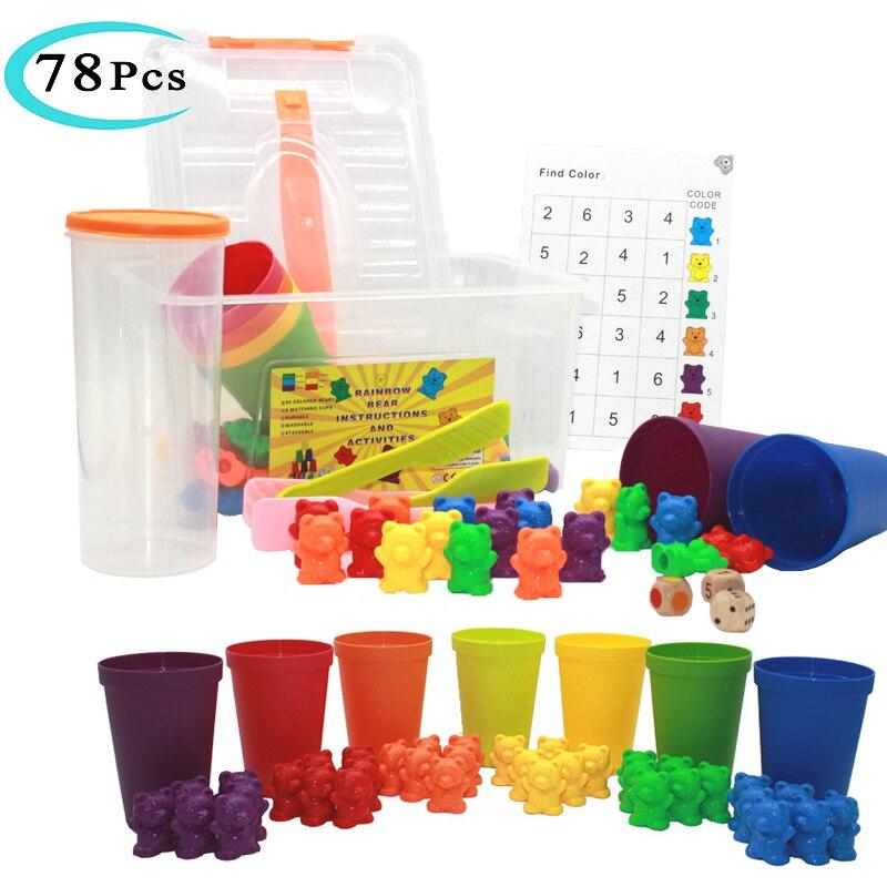 Rompecabezas educativo Montessori para niños, juguete de aprendizaje cognitivo Digital de oso, juguete para la coordinación de manos y cerebro en caja, juguete para regalo para niños