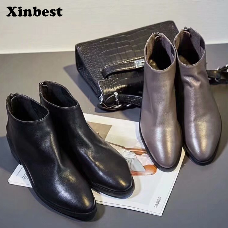 Xinbest Women Boots Genuine Leather Women High Heel Shoes Round Toe Ankle Boots For Women Casual Fashion Womens Winter Boots zorssar 2018 new fashion women shoes round toe thick heel ankle snow boots patent leather high heels womens boots winter