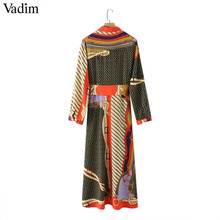 Vadim women elegant patchwork print maxi dress bow tie sashes long sleeve pleated female office wear long dresses vestidos QA483