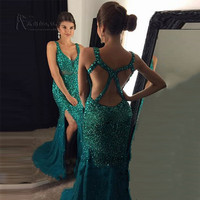 Green Gold Crystals Evening Dresses Long Mermaid Prom Dress 2017 Formal Special Occasion Gowns Criss Cross Split Robe de Soiree