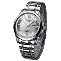 BINGER Business Automatic Watches Men's Stainless Steel Watch Band With Luminous Mechanical Wristwatch