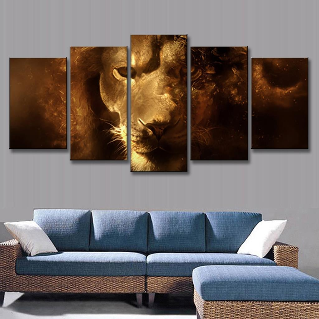 Buy 5 pcs set animals lion canvas for How paint on canvas