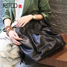 AETOO New Korean black top layer soft cowhide multi-layer women's bag large-capacity shoulder bag tide leather tote bag