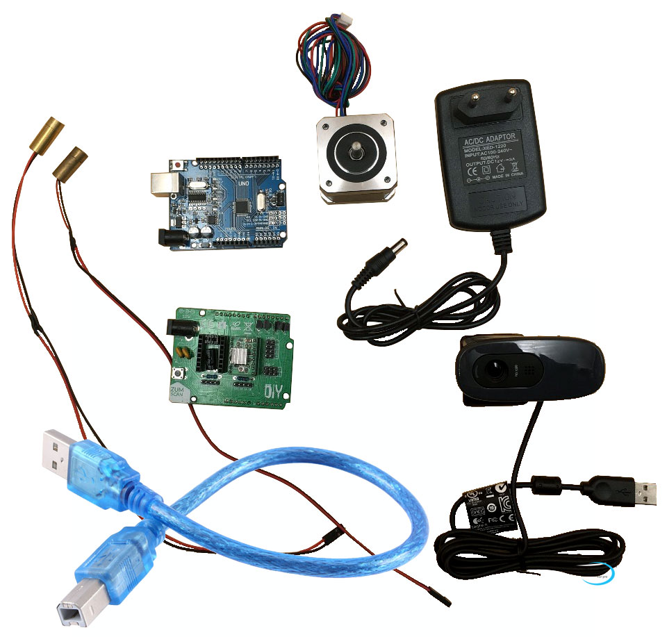 Reprap Ciclop 3d scanner elektronik kit, motor, laser, UNO controller, ZUM Scan Expansion board, stecker, kamera full kit