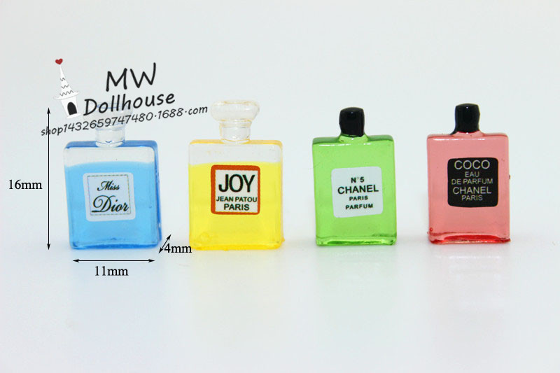 Free Shipping 4Pcs Colorful Perfume Dollhouse Miniature 1 12 Scale Classic Toys for Kids Scale Models