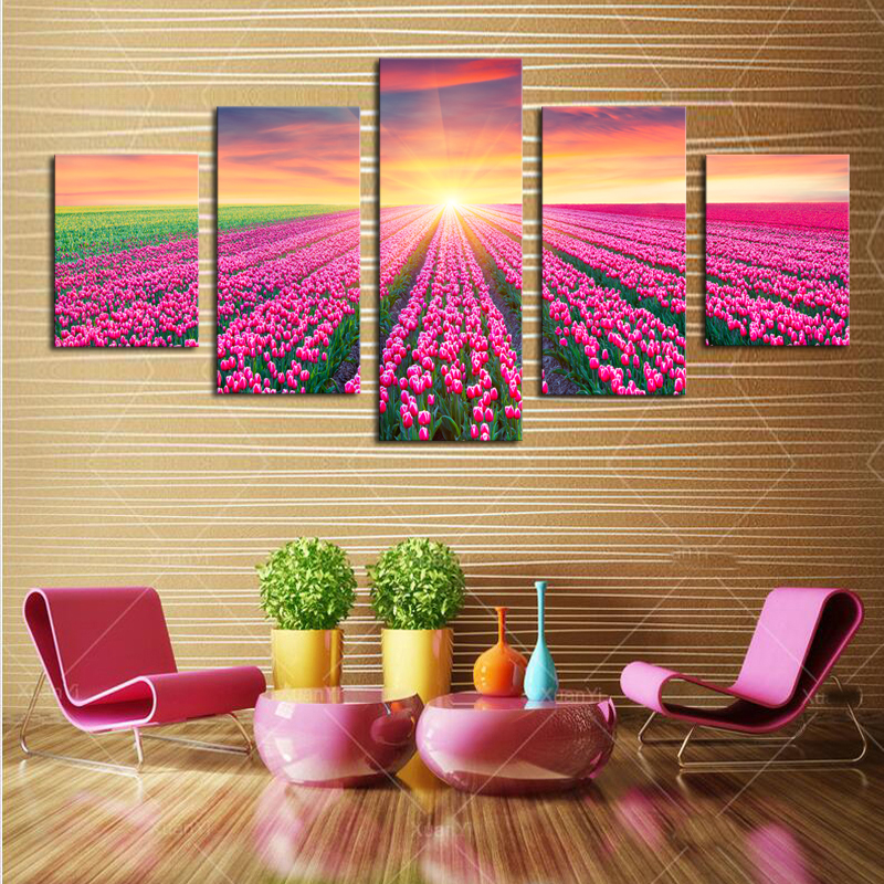 Unframed 5 Panels Modern Red Roses HD Picture Canvas Print Painting ...