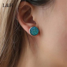 L&H 2018 New 9 Colors Earrings Vintage Imitation Stone Resin Round Gypsophila Crystal Stud For women Fashion Jewelry