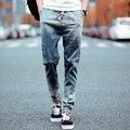 Mens Skinny jeans 2016 pantalones vaqueros delgados masculinos denim jeans Motorista hiphop pantalones vaqueros de color en degradado para hombre