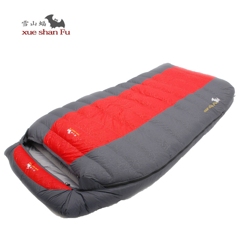 Xueshanfu Double Person 5500G 6000G Duck Down Filling Professional Super Warm Waterproof Comfortable Sleeping Bag Lazy