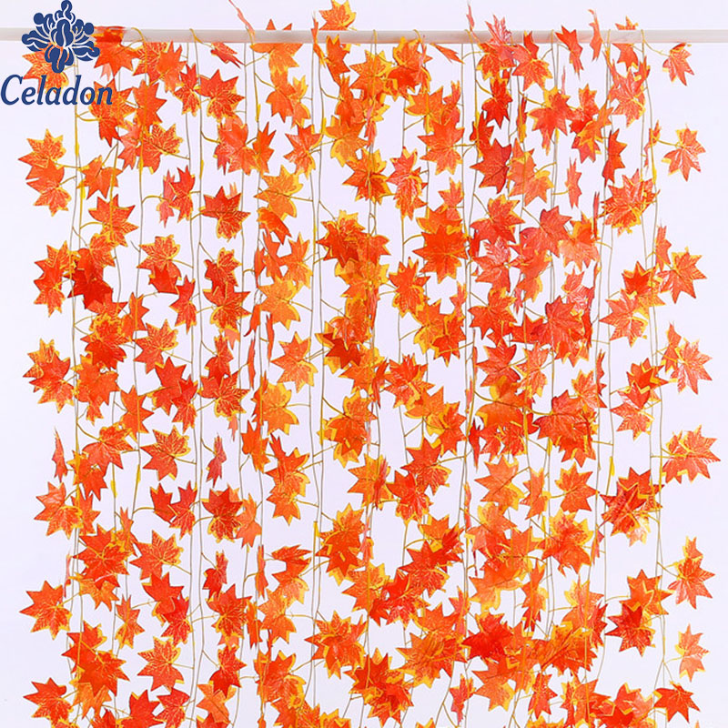 Hot Selling!! 2.3m Windowill Autumn Leaves Garland Maple Leaf Vine Fake Foliage home garden Decoration-in Party DIY Decorations from Home & Garden