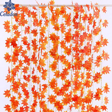 Hot Selling!! 2.3m Windowill Autumn Leaves Garland Maple Leaf Vine Fake Foliage home garden Decoration