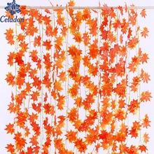 ¡Superventas! Guirnalda de hojas de otoño de 2,3 m, hoja de arce, vid falsa, follaje para el hogar, decoración del jardín