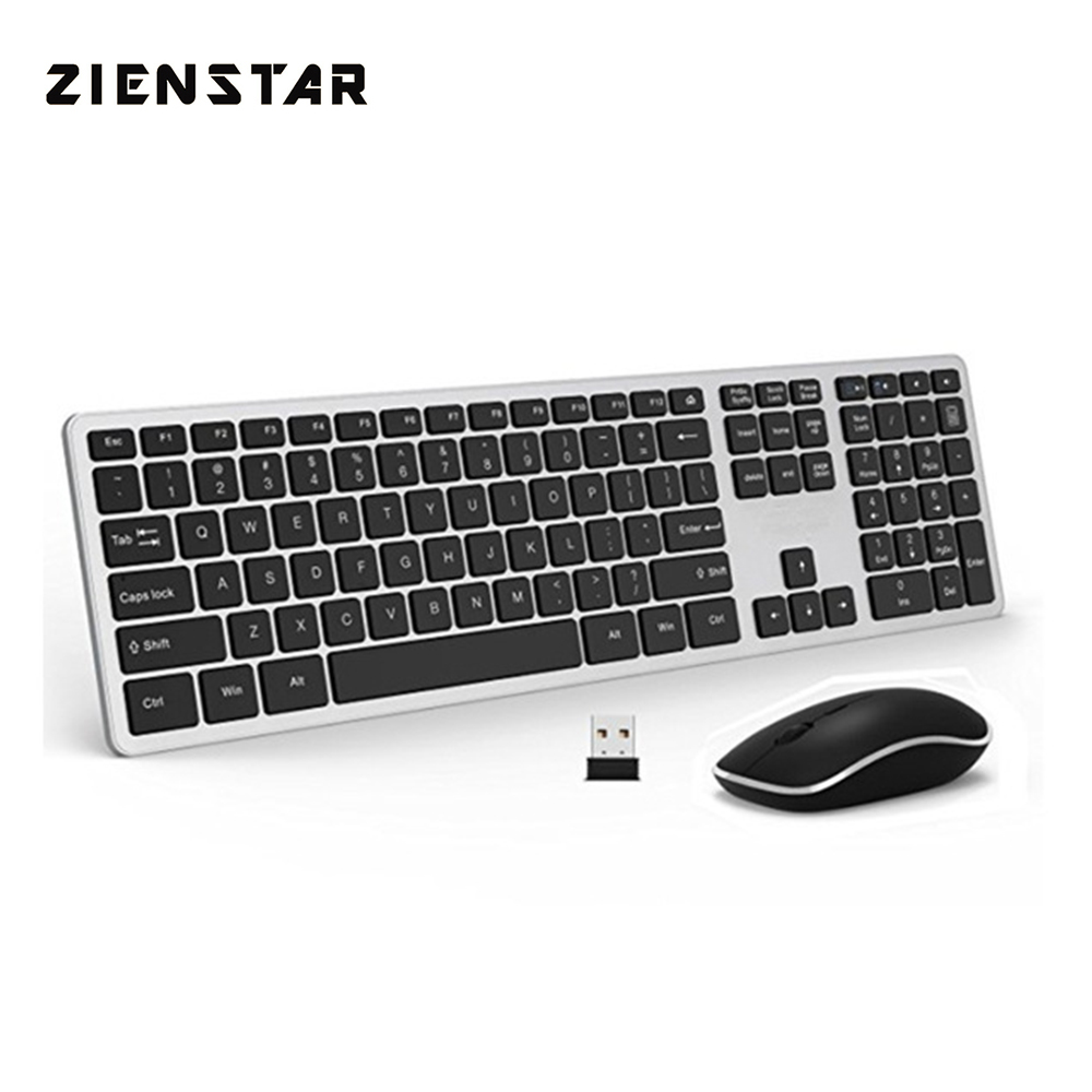 Zienstar Ultra Slim Wirless Office Keyboard and Mouse Combo With USB Receiver For Macbook,PC, Laotop, Standard Size