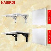 NAIERDI 2 uds triángulo ángulo de plegado soporte pesado soporte ajustable montado en la pared Banco Mesa estante soporte para mueble Hardware