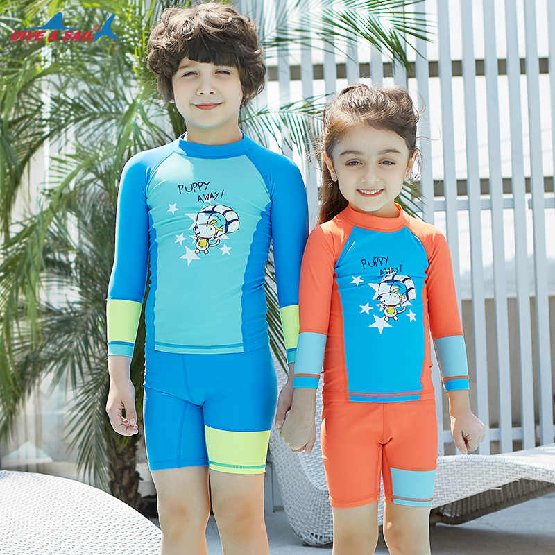 4a8edefec8 Kids Swimsuit Basic Skins UPF 50+ Long Sleeve Sun Shirt + Shorts Two Piece  Set