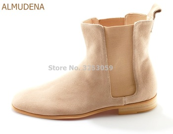 ALMUDENA Top Brand Men's Vogue Ankle Boots Nude Suede Elastic Band Patchwork Chelsea Boots Casual Shoes Dropship Size 46