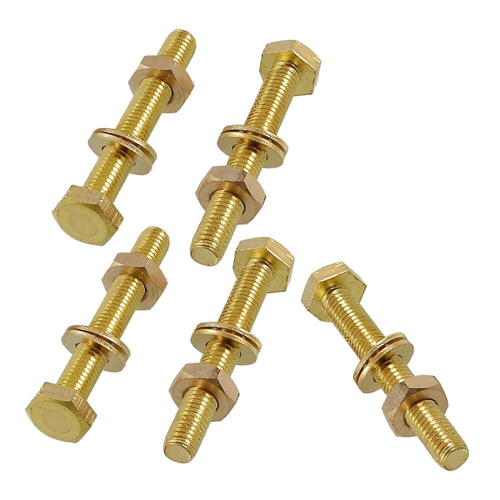 5 x Brass 8mm x 60mm Male Thread Hex Screw Bolts Nuts Washers Set