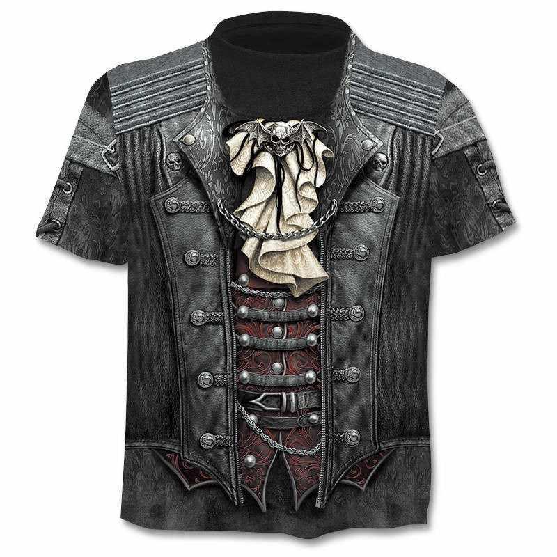 2019 חדש mens חולצה גולגולת חולצה 3D אקדח לוחם סכין Harajuku הדפסת t חולצת קיץ O-צוואר גותי פאנק בציר רוק חולצה