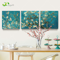 3 لوحة الحديث المطبوعة فان جوخ زهرة شجرة اللوحة صورة قماش فن ديكور المنزل جدار صور لغرفة المعيشة لا الإطار PR069