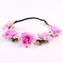 Bohemian Style Flowers Bride Headband Rose Flower Crown Elastic Hairband Ladies Hair Hair Ribbons Women Hair Sticks Fashion P3