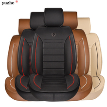 Leather Car Seat Cover Front Rear Automobile Complete Set Universal 5 Seats