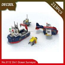 Loja 3112 213 Pcs 3IN1 Doinbby Série Deformação Agrimensor Offshore Modelo conjunto de Blocos de Construção Tijolos Crianças Para Brinquedos Decool