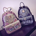 Womens Fashion New Collection Korean Style Backpack With Shining Cute Cat Cross Shoulder Bag Baby Lady Face Shape Bag School Bag