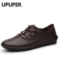 Большой размер 35-48 Пояса из натуральной кожи повседневная обувь Для мужчин Кружево-Up Дышащая обувь на плоской подошве мягкая подошва удобна...