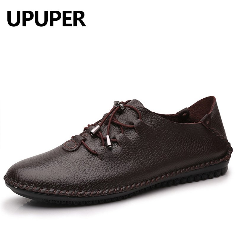 Plus Size 35-48 Genuine Leather Casual Shoes Men Lace-Up Breathable Flats Soft Bottom Comfortable Mens Moccasins Loafers Shoes handmade men flats shoes plus size loafers moccasins genuine leather mens casual driving shoes soft breathable comfortable flats