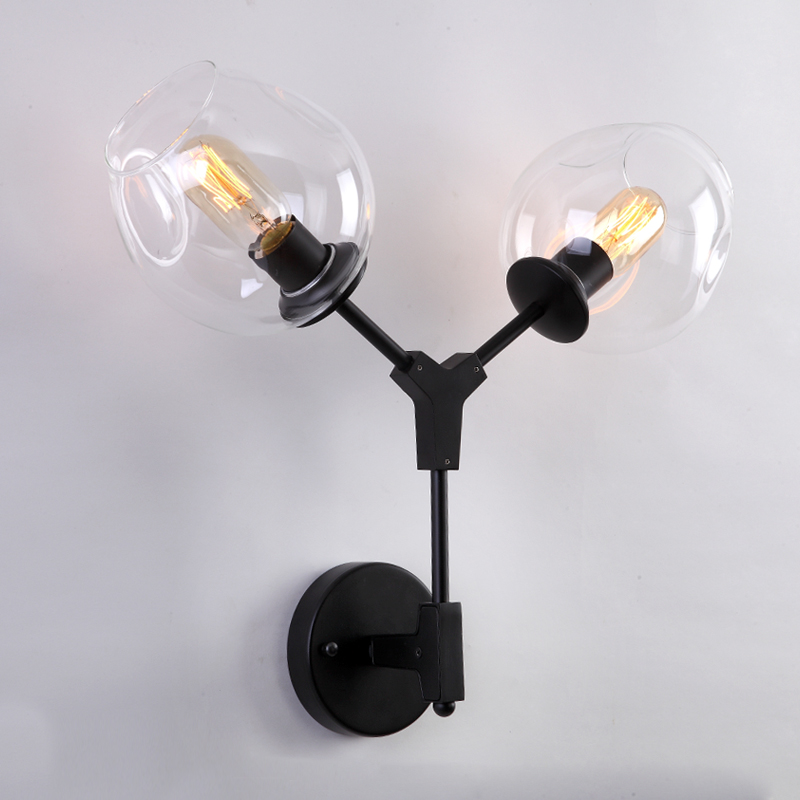 LukLoy Wall Lamp Lights Modern Magic Bean Double Head Branch Sconce Globes DNA Wall Sconce Lighting