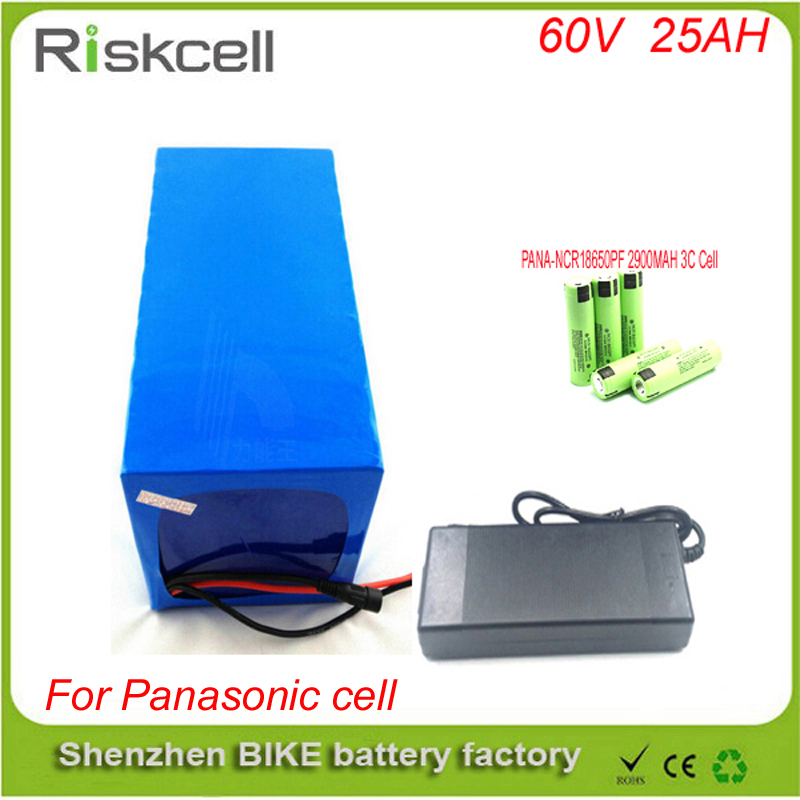 Free customs taxe electric bike 60V 3000W battery pack with charger and BMS For 60v 25ah lithium battery pack For Panasonic cell free customs taxes high quality skyy 48 volt li ion battery pack with charger and bms for 48v 15ah lithium battery pack