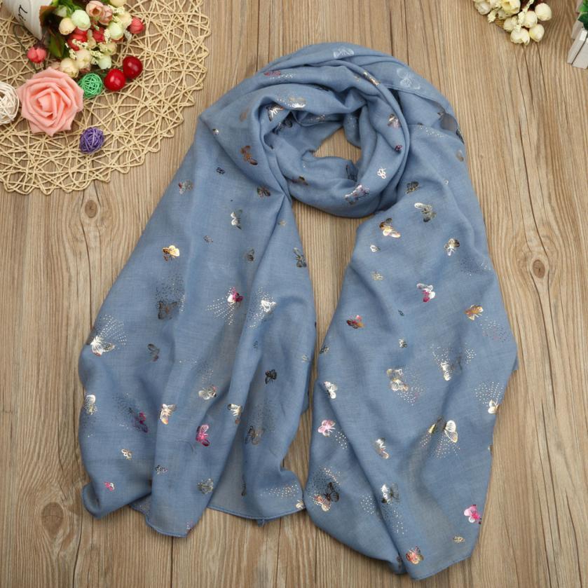Fabulous Lady Butterfly Print Long   Wrap   Women's Shawl Pashmina Stole   Scarf     Scarves   Comfortable Popular Poncho   Scarves   Foulards