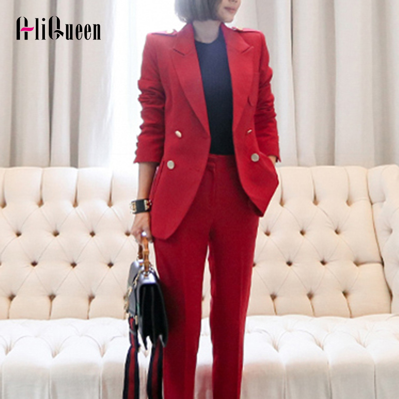 AliQueen 2 Pieces Set  Women's Suit Autumn Red Elegant Fashion Double Button OL Notched Bussines Office Lady Blazer Pants Suits