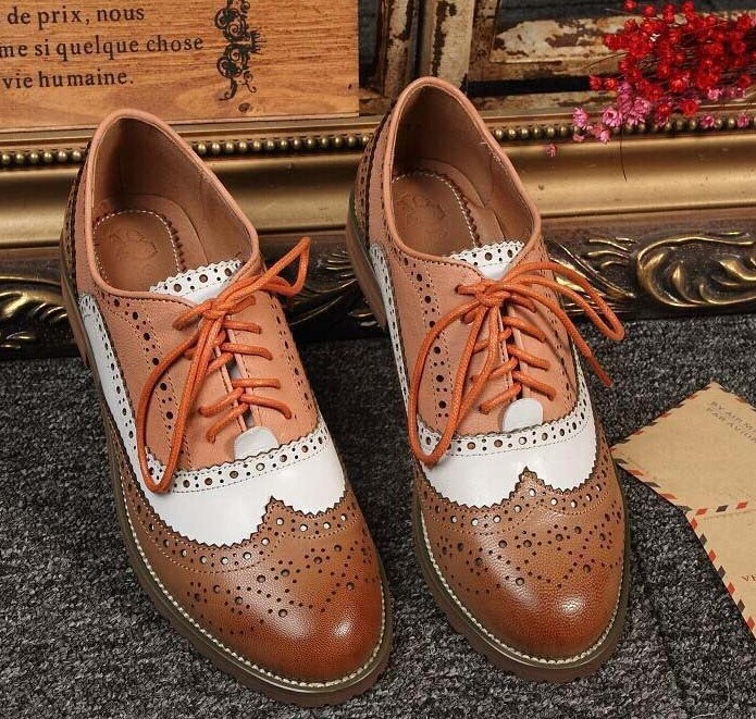 2015 Flats Oxfords Womens Brogues Shoes Genuine Leather Flat Cut