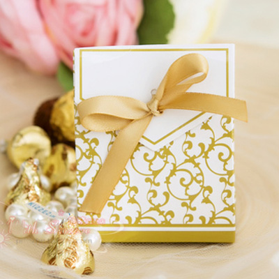 Sale Wedding Candy Box 100pcs/lot Golden Paper Wedding Giveaway Gifts ...