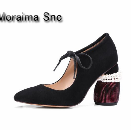 Moraima Snc Brand women shoes green black suede pearl pumps round heels high heels pumps women lace up shallow ladies shoes 2018 moraima snc luxurious women pumps shallow high heels pointed toe flower pu leather ankle strap buckle party women pumps