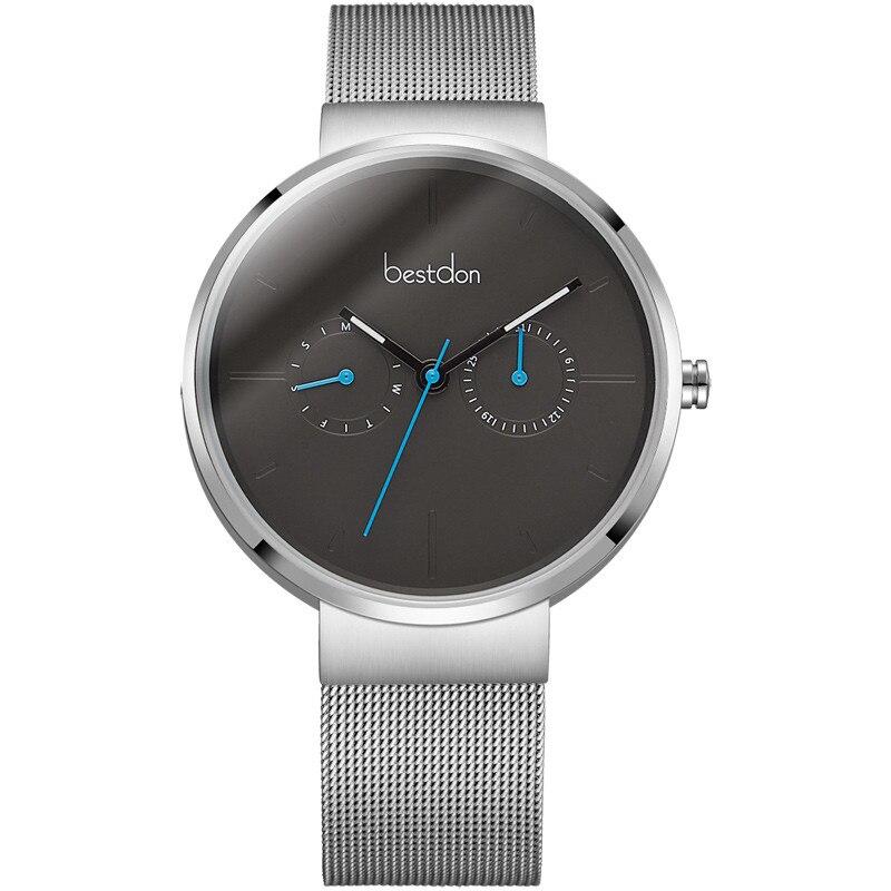 Bestdon Top montre de luxe hommes marque montres à Quartz hommes Ultra mince en acier inoxydable maille bande Quartz montre-bracelet horloge d'affaires