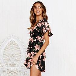 Sexy V Neck Mini Sukienka kobiety kwiatowy z krótkim rękawem Sashes lato sukienki tunika wysokiej talii panie Sundress kobiet Vestidos Sukienka 6