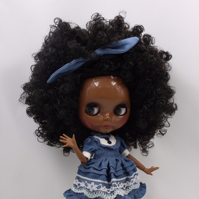 Factory Blythe Doll Black Skin Black Hair Jointed Body 30cm